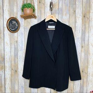 Max Mara Designer Jacket Black Pinstriped Blazer